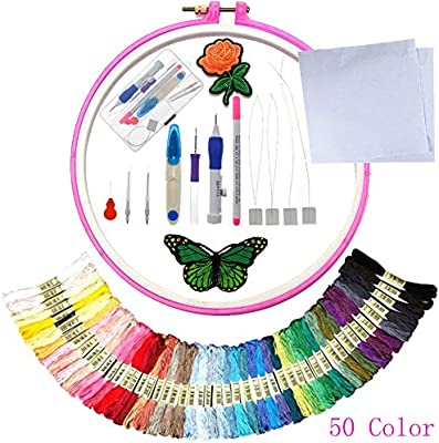 Punch Needle Embroidery Kit,50 Color Threads Threads for DIY Sewing Embroidery Cross Stitch Kits and Knitting Sewing Tool