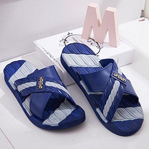 Y-Hui Verano del hombre interior y exterior de plástico antideslizante de baño, zapatillas de baño, zapatillas de casa, Casa piso Navy Blue