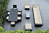 Ohana 14-Piece Outdoor Patio Furniture Sofa and Dining Set, Black Wicker with Sunbrella Antique Beige Cushions – Free Patio Cover Review