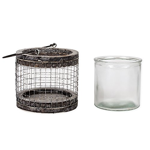 (Medium Round Mesh Chicken Wire 6 inch Natural Birch Lantern Decoration with Handle)