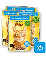 Purina Friskies Salmon Chunks in Gravy Wet Cat Food Pouch 85g (5 Pieces)