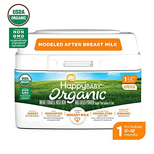 Happy Baby Organic Infant Formula Milk Based Powder with Iron Stage 1, 21 Ounce(Packaging May Vary) from Happy Baby