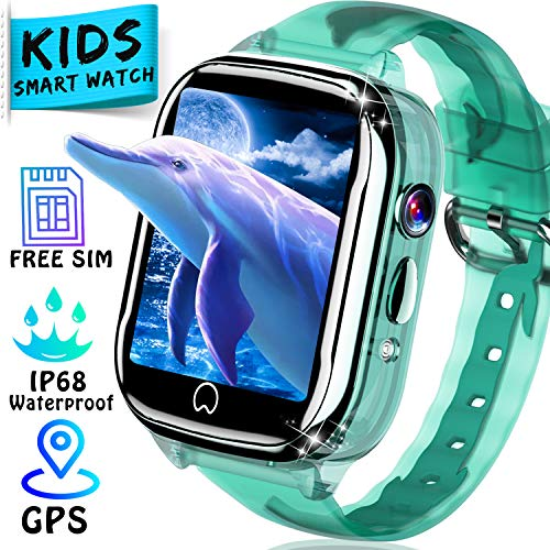 [Free SIM Card] Waterproof Kids Watch - Smart Watch for Kids GPS Tracker Phone Watch Boys Girls Smartwatch with Two-Way Call SOS Anti-Lost Alarm Game Camera Child Wrist Watch Outdoor Summer Toy (Best Smart Watches For Kids)