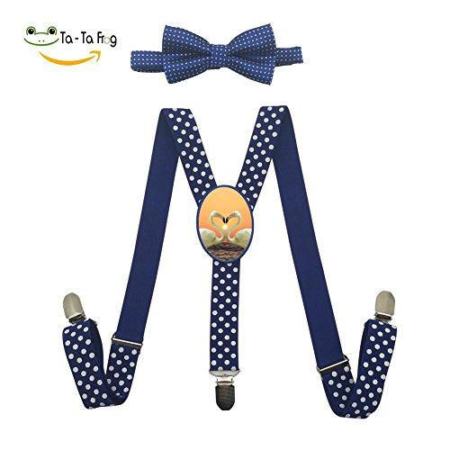 Xiacai Love Flamingo Suspender&Bow Tie Set Adjustable Clip-On Y-Suspender Kids by Xiacai (Image #1)