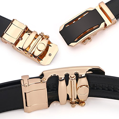 Iztor Men's Belts Leather Ratchet Dress Belt with Automatic Buckle 1 3/8'' Wider for from 20'' to 43'' Waist by iztor (Image #3)