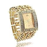 Damen Armband Uhr Damenuhr Armbanduhr Quarzuhr mit Strass Geschenk Goldfarbe