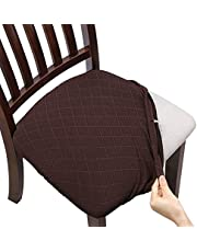 Fuloon Super Fit Stretch Spandex Lattice Jacquard Removable Washable Dining Chair Protector Cover Seat Slipcover for Hotel,Dining Room,Ceremony,Banquet Wedding Party (6, Chocolate)