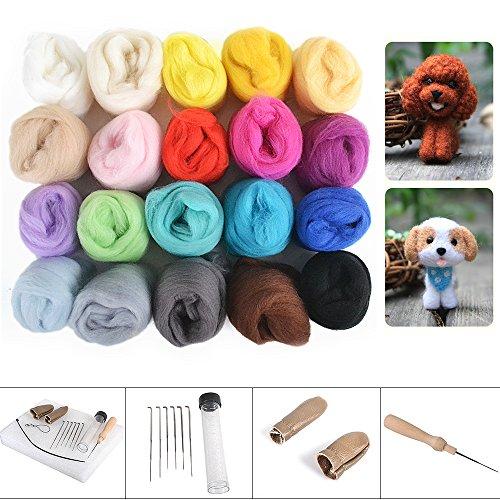 Reelva Needle Crafts Wool Felts 20 Mix Color + Finger Guards + Needle Felting Mat Starter Kit - 100% Wool Felt Stars