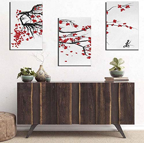 sasdasld HD Print Chinese Ink Painting Style Landscape Mountain and Plum Blossom Sakura Cherry Tree Summer Time Vintage Cultural Artwork-4050cm3 Frame