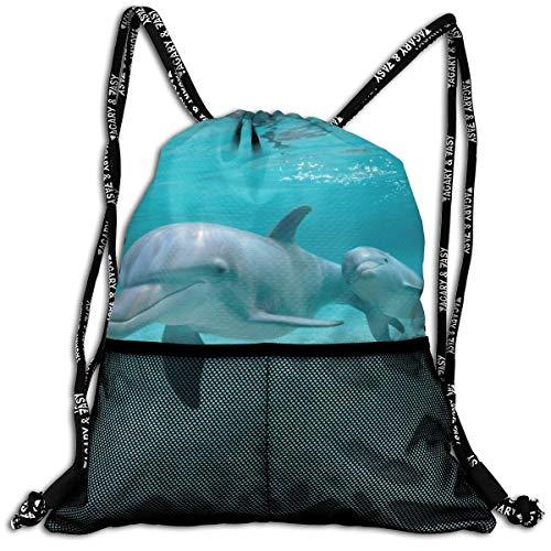 Animalli.com-Animals-Underwater-Mammals-Fish-Dolphins-Funny-Animal-pics-w-captions Unisex Large Sport Sack Drawstring Backpack Waterproof Stadium Shoulder Bags Home Travel School Storage Rucksack ()