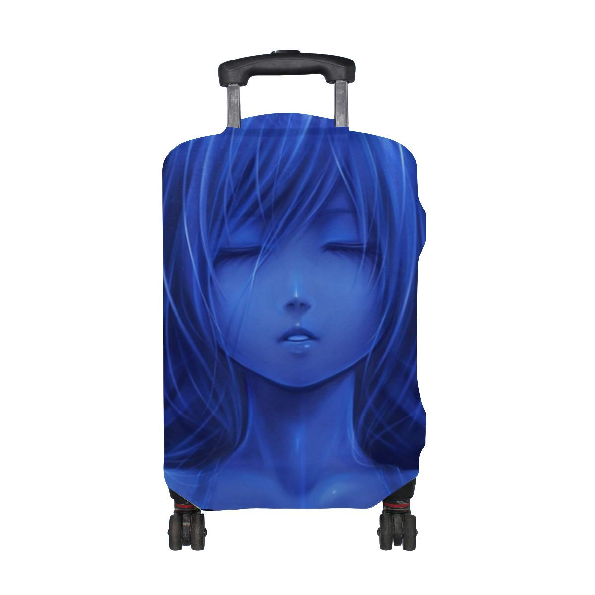 Maxm Bouno Satoshi Girl Blue Face Horns Ears Pattern Print Travel Luggage Protector Baggage Suitcase Cover Fits 18-21 Inch Luggage
