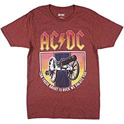 ACDC For Those About to Rock Mens Tee in Heather Burgundy