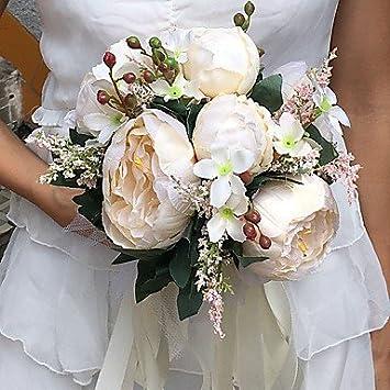 Amazon De Funan Wxtdph Hochzeitsblumen Rundformig Pfingstrosen