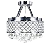 Paris Lighting, Semi Flush Mount Crystal Chandeliers, Chrome Finish, Diameter 14 inches x Height 15 inches For Sale