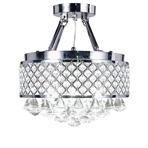 Elegant Semi Flush Lighting (Diamond Life 4-light Chrome Finish Round Metal Shade Crystal Chandelier Semi-Flush Mount Ceiling Fixture)