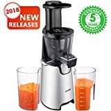 Juicer Slow Masticating Juicer Extractor, 3 Strainers for Frozen Desserts, High Nutrient Fruit and Jam, Aicok Quiet Motor Cold Press Juicer