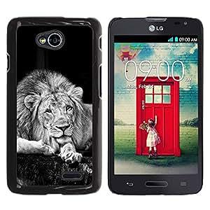 LECELL -- Funda protectora / Cubierta / Piel For LG Optimus L70 / LS620 / D325 / MS323 -- Majestic Black & White Lion Portrait --