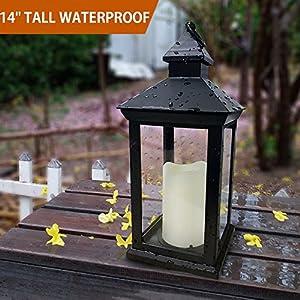 "Bright Zeal BZN 14"" TALL Vintage Decorative Lantern with LED Pillar Candle (BLACK, Batteries Included) - Waterproof Lanterns Large Lanterns Decorative Outdoor Lanterns - Hanging Candle Lantern Indoor"