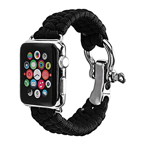Baokai Apple Watch Band 42mm, Nylon Rope Replacement Paracord Watch Band with Outdoor Survival Stainless Steel Shackle for Apple Watch Series 3 Series 2 Series 1 Sport and ()