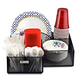 Eltow Plate & Cutlery Organizer: Large Decorative Kitchen Spoon, Fork, Knives & Cups Holder  Stylish & Sturdy Bowl, Napkin & Tableware Dispenser  Home & Business Office Utensil Organizer Caddy