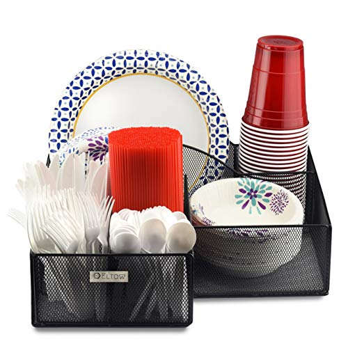 Eltow Plate and Cutlery Organizer: Large Kitchen Spoon, Fork, Knives and Cups Holder - Stylish and Sturdy Bowl, Napkin and Tableware Dispenser - Home, Restaurant, BBQ and Picnic Plate Organizer Caddy