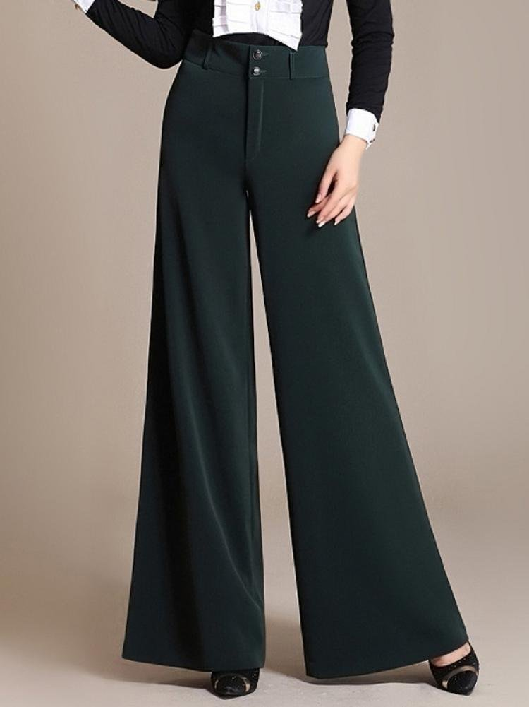 Enlishop Women High Waist Wide Leg Oversized Long Palazzo Pants Trouser Black by Enlishop (Image #4)