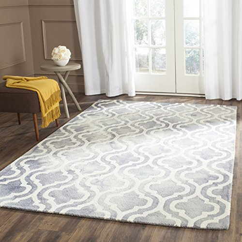 Safavieh Dip Dye Collection DDY537C Handmade Geometric Moroccan Watercolor Grey and Ivory Wool Area Rug (8′ x 10′)