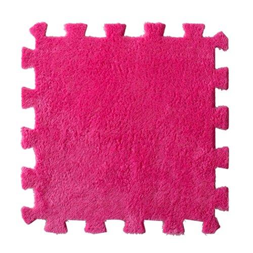 Flannel Patchwork Carpet,Leegor Modern Soft Decor Area Rug Door Bedroom Living Room Memory Foam Carpets 30cm x 30cm Splice Baby Floor Mat, Absorbent Non-slip No Stimulation Easy To Clean (Hot Pink)
