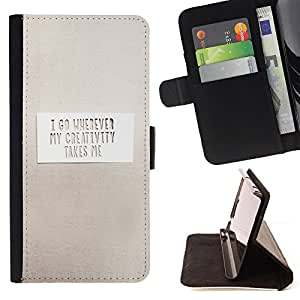 DEVIL CASE - FOR Sony Xperia Z2 D6502 - Paper Grey Inspiring Message Clean White - Style PU Leather Case Wallet Flip Stand Flap Closure Cover