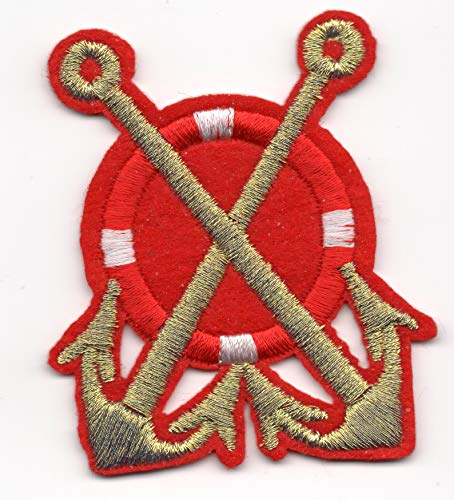 Patch Boat Anchor Lifebuoy Ancre Sea Water Marine Us Captain Great Size Hot Logo White Biker Ranger Patrol Vest Jacket Shoulder Decal Owner Emblem Applique Embroided Iron Sew On Bestdealhere (Red)]()