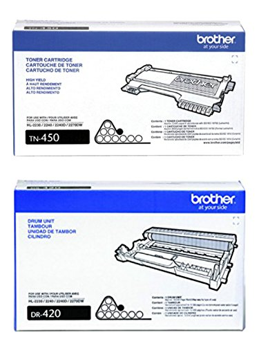 Toner Original BROTHER TN450 (TN-450) Alta Capacidad Black y DR420 (DR-420) Imaging Unit