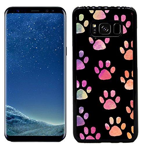 Galaxy S8 Case, Galaxy S8 Cover - Black WaterColor Paw Prints - Designer Plastic Snap On Case