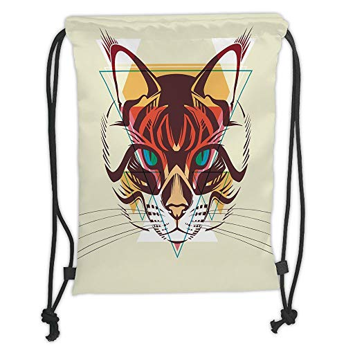 Animal,Cat Portrait with Funk Color Effects Cute Kitty Whiskers Pet Feline Zoo Meow Graphic Decorative,Multicolor Soft Satin,5 Liter Capacity,Adjustable S
