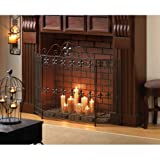 AW Fleur De Lis French Country Wrought iron FIREPLACE SCREEN w/ Scrolling Design