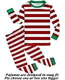 Boys Girls Christmas Striped 2 Piece Kids Pajamas Toddler Sleepwear 100% Cotton Size 4T