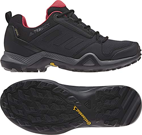 - adidas Outdoor Terrex AX3 GTX Womens Hiking Boots, (Carbon, Black, & Active Pink), Size 6
