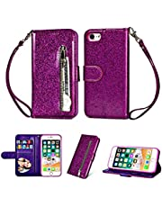 Zipper Wallet Case for iPhone 6s/6,Aoucase Luxury Glitter Sparkly Bling Pocket Purse Wrist Strap Soft TPU Stand Leather Case with Black Dual-use Stylus - Purple