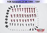 VITCIK Full Fairings Bolt Screw Kits for Kawasaki ZX9R 1994 1995 1996 1997 ZX-9R 94 95 96 97 Motorcycle Fastener CNC Aluminium Clips (Red & Silver)