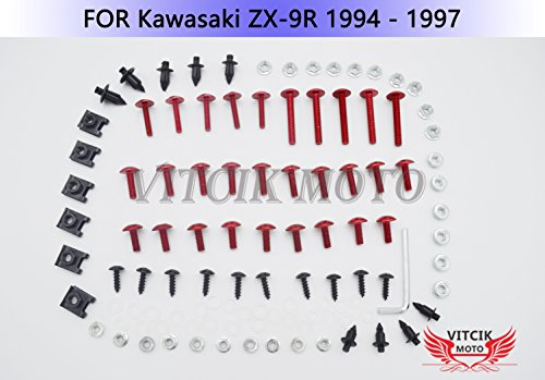 VITCIK Full Fairings Bolt Screw Kits for Kawasaki ZX9R 1994 1995 1996 1997 ZX-9R 94 95 96 97 Motorcycle Fastener CNC Aluminium Clips (Red & Silver) by VITCIK