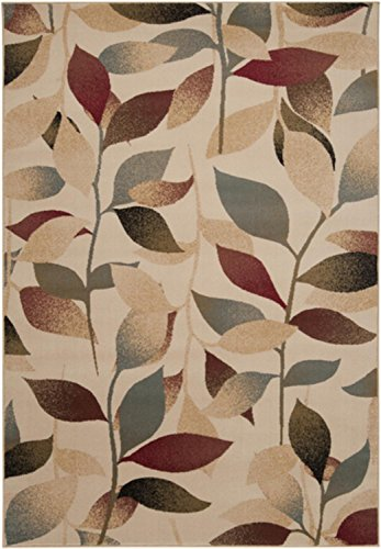 Diva At Home 7.85′ x 10.85′ Summer Leaves Tan, Steel Blue & Ruby Red Shed-Free Area Throw Rug Review