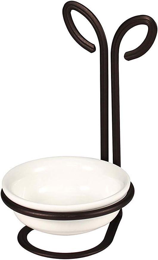 Spectrum Diversified Leaf Ceramic Dish Upright Utensil Holder for Stovetop & Kitchen Organization, Modern Vertical Spoon Rest, Nature-Inspired Kitchen Décor, Bronze