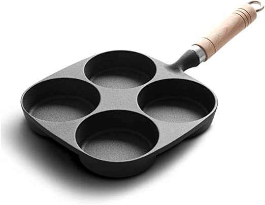 4 Hole Fried Egg Burger Pan Non-stick Ham Pancake Maker Wooden Handle Q8S2