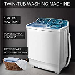 Capacity:Washer:13lbs + Spin cycle:8lbs Dimensions: 28.7*16.5*33.8 inches.  Power supply: 110v/60hz. RatedPower: 435w(wash:300w/dry:135w)