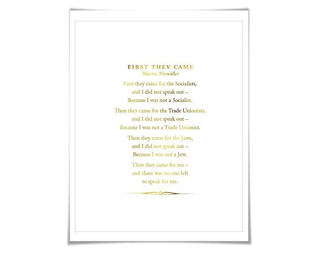 Amazon Com First They Came Poem Gold Foil Art Print 7 Foil Colours