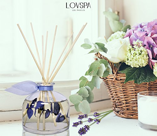 Lavender & Eucalyptus Scented Sticks Reed Diffuser Set DE-STRESS by LOVSPA Fragrances | A Relaxing Blend of Woody Lavender, Sage, Eucalyptus & Rosemary Essential Oils