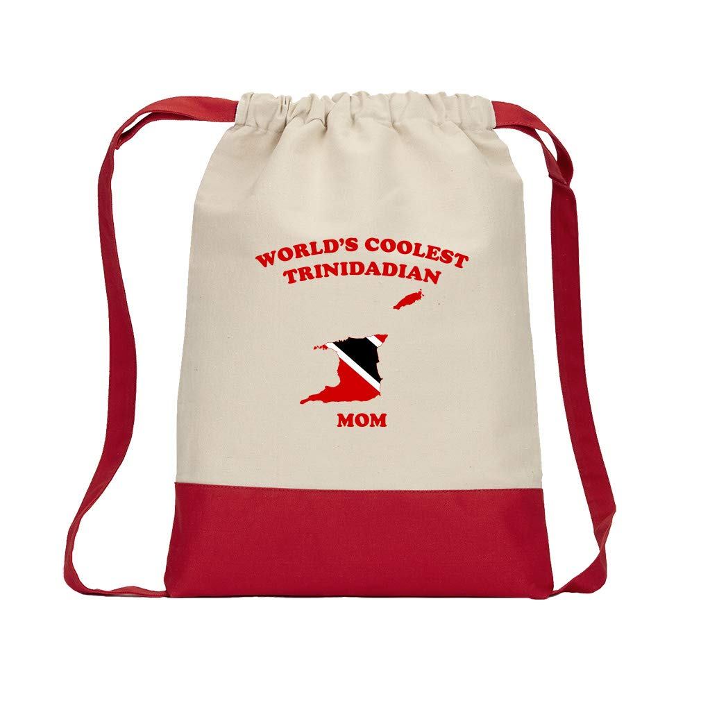 World'S Coolest Trinidadian Mom Cotton Canvas Color Drawstring Bag Backpack - Red