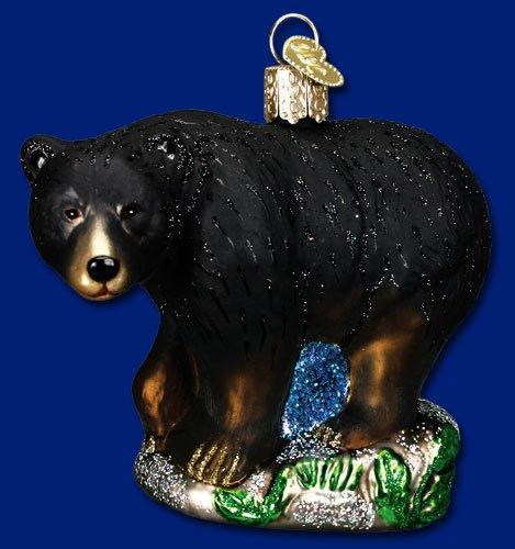 Old World Christmas Black Bear Glass Blown Ornament - Black Bear Glass