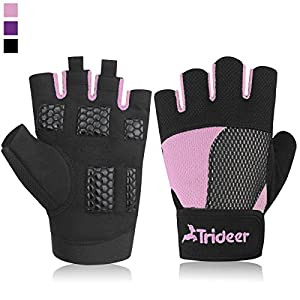 Trideer Womens Weight Lifting Gloves For Callus And Blister Protection, Breathable & Non-slip, Padded Gym Gloves For Powerlifting, Cross Training - Available in Black, Pink, Purple (Pair) …