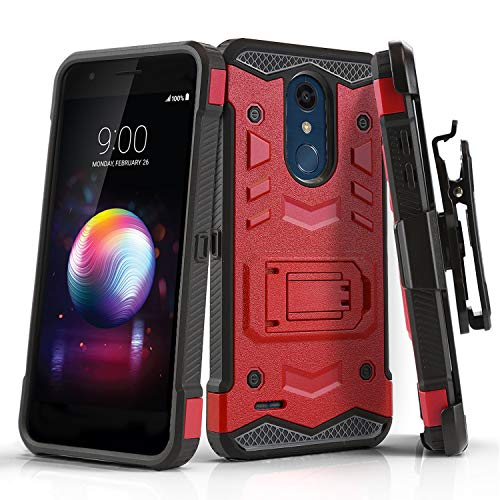 Phone Case for [LG K30], [Robust Series][Red] Shockproof Heavy Duty Cover with [Kickstand] & [Holster Clip] for LG K30 (Xfinity Mobile, Metro, Boost Mobile, Sprint, T-Mobile, Virgin Mobile)