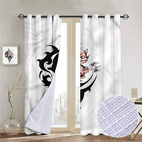 (NUOMANAN Modern Farmhouse Country Curtains Tattoo,Devil and Japanese Warrior,Design Drapes 2 Panels Bedroom Kitchen Curtains)